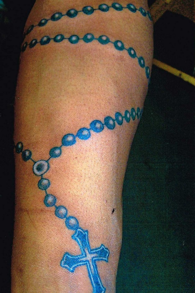 Grey Ink Bottle And Rosary Beads Tattoos photo - 1