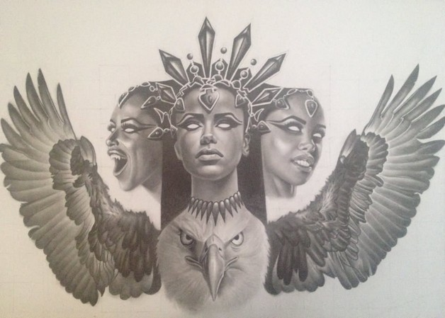 grey ink egyptian queen portrait tattoo on sleeve. Black Bedroom Furniture Sets. Home Design Ideas