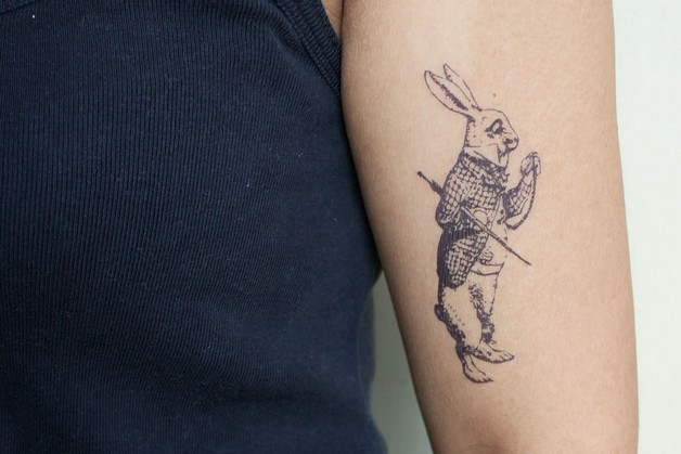 Grey Ink Rabbit And Horseshoe Tattoos photo - 1
