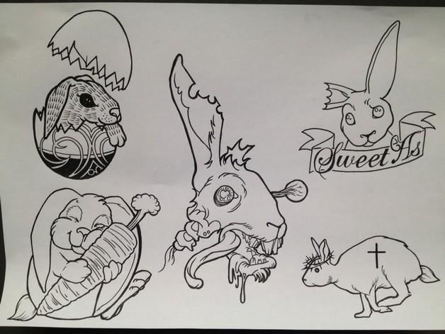 Grey Rabbit Tattoo Flash photo - 1