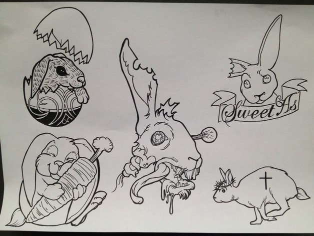 Grey Rabbits Tattoos Sheet photo - 1
