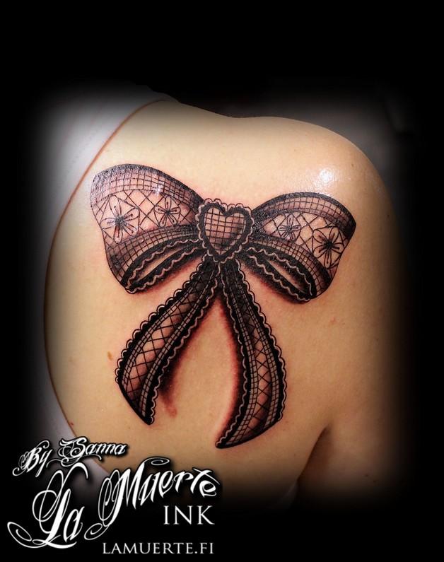 Grey Ribbon Bow Corset Tattoos photo - 1