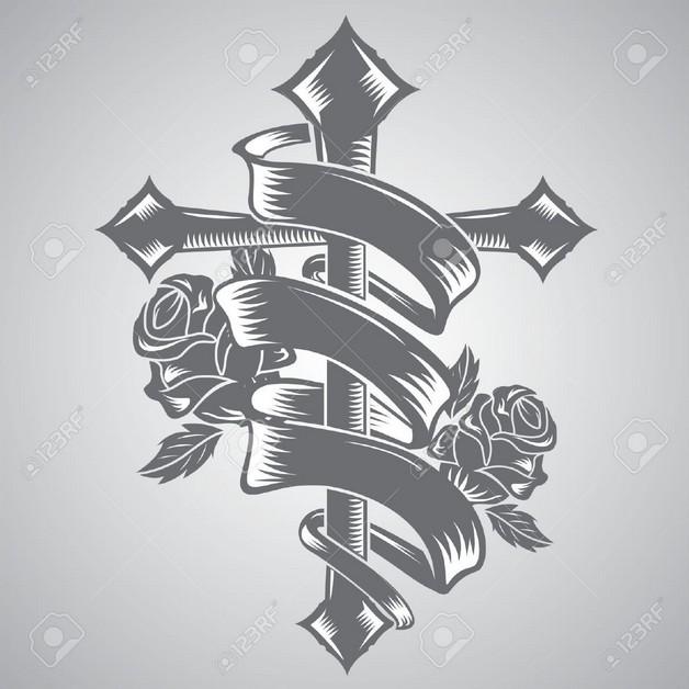 Grey Rose With Ribbon Tattoo Design