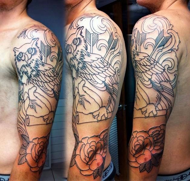 Half Sleeve Mexican Skull Tattoo For Men photo - 1