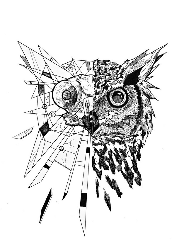 Hand Owl Tattoo Design photo - 1