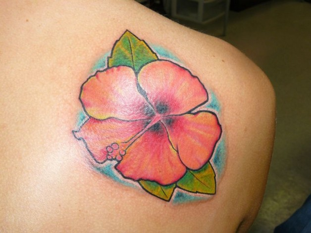 Hawaiian Flowers Tattoo On Shoulder photo - 1