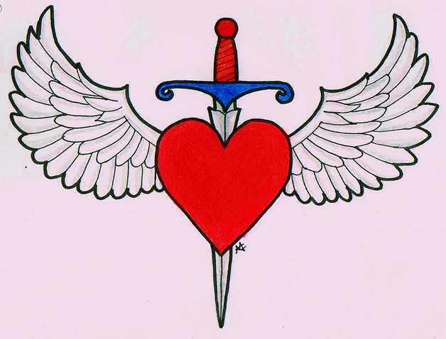 Heart With Dagger Tattoo Designs photo - 1