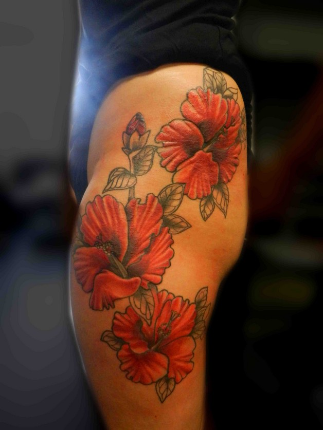Hibiscus Flower Cover Up Tattoo photo - 1