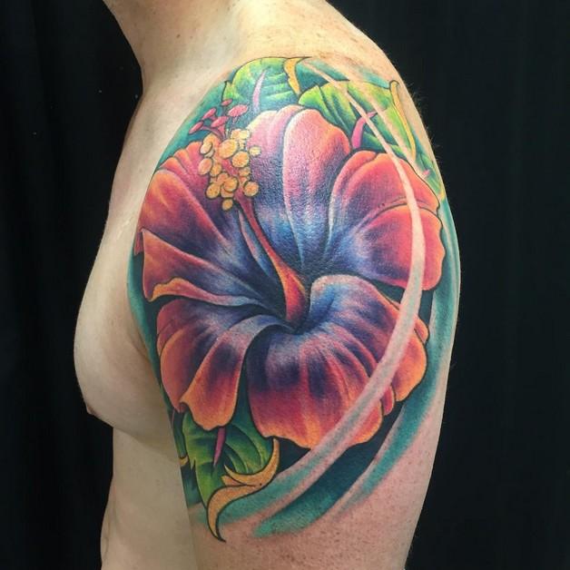 Hibiscus Flower Tattoo For Guys photo - 1