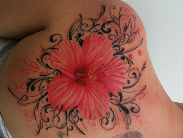 Hibiscus Flower Tattoo With Name photo - 1