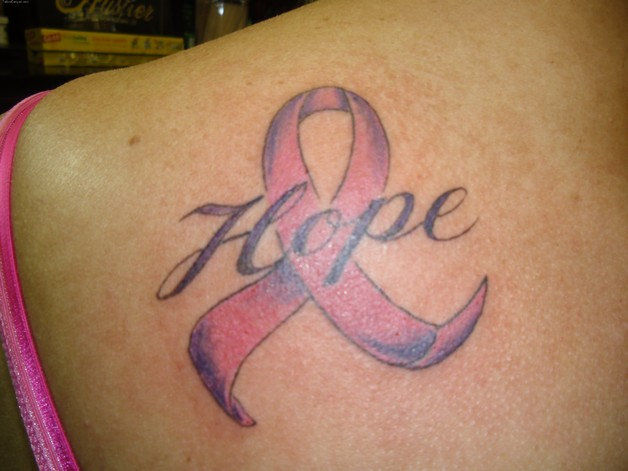 Hope Word And Pink Cancer Ribbon Tattoos photo - 1