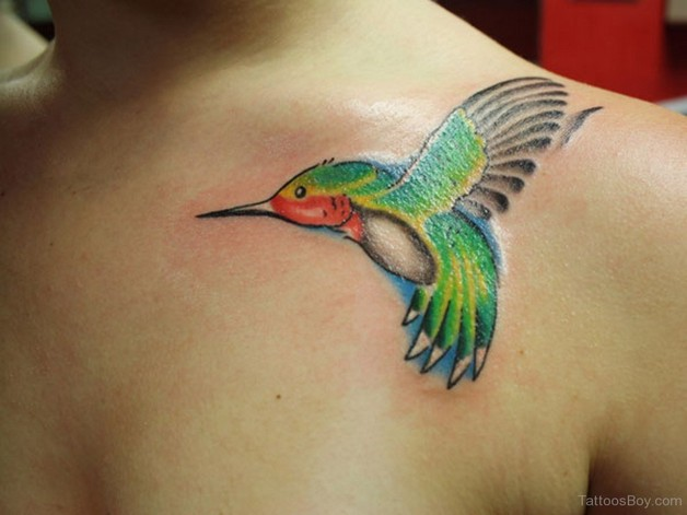 Hummingbird Tattoo On Chest photo - 1