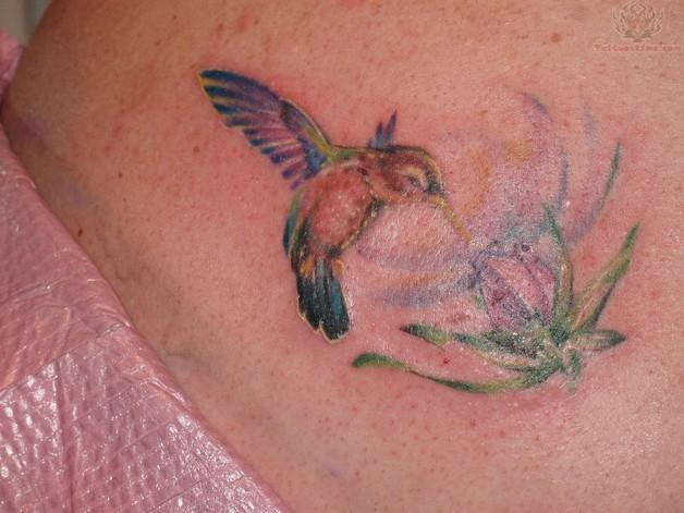 Hummingbird With Flower Tattoo photo - 1