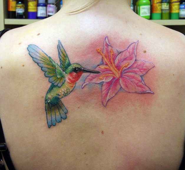 Hummingbird With Flowers Tattoo Design photo - 1