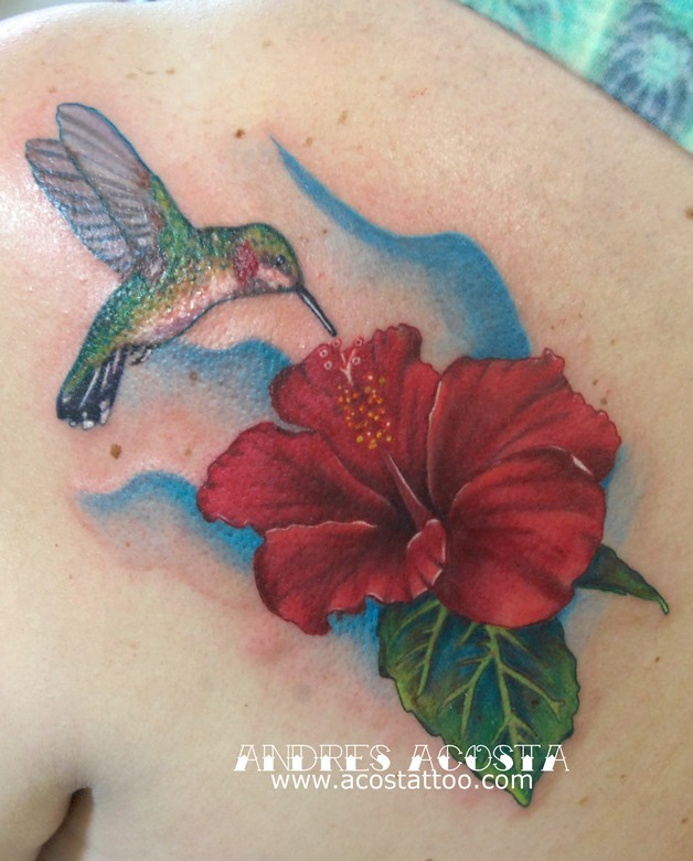 Hummingbird n A Flower Tattoo On Back Of Shoulder photo - 1