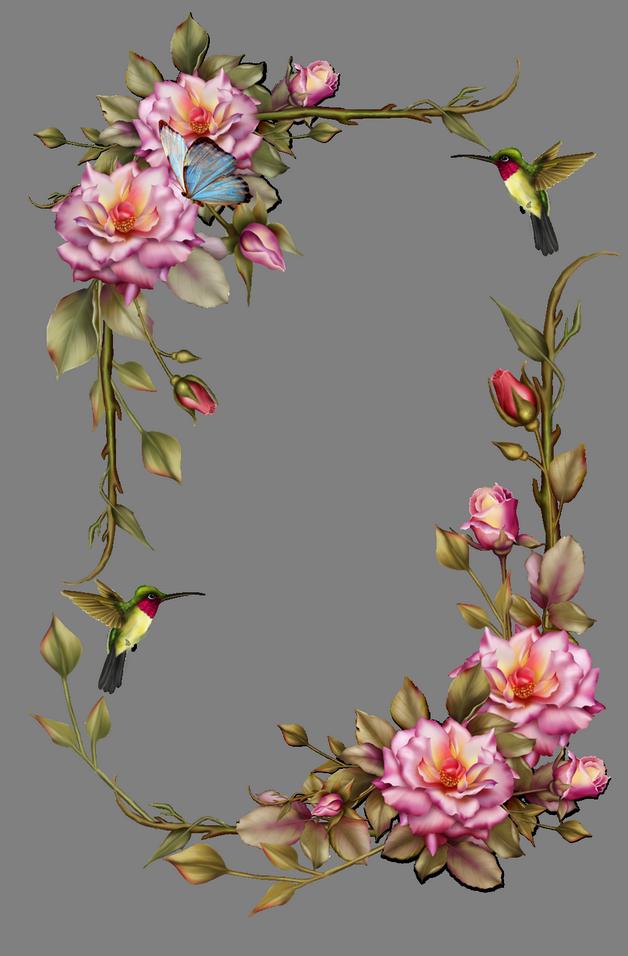 Hummingbird n Pink Flower Tattoo On Back photo - 1