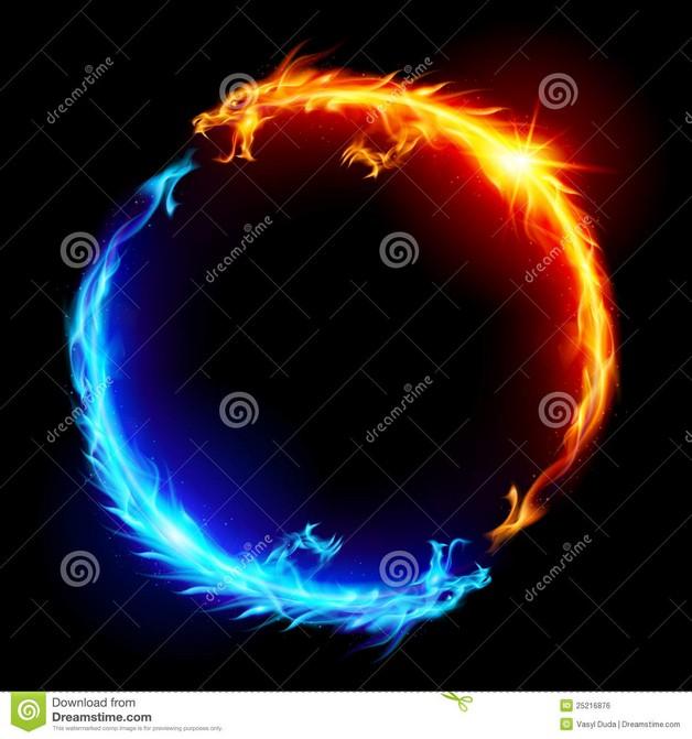 Ice Fire Yin Yang Tattoo Design photo - 1