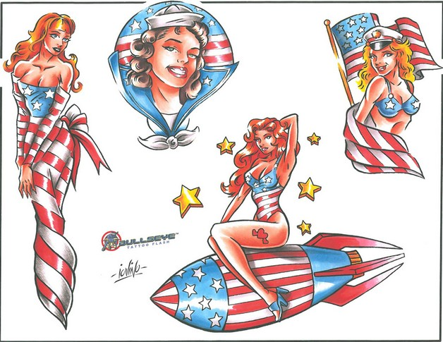 Impressive Patriotic Pin Up Girl Tattoo photo - 1