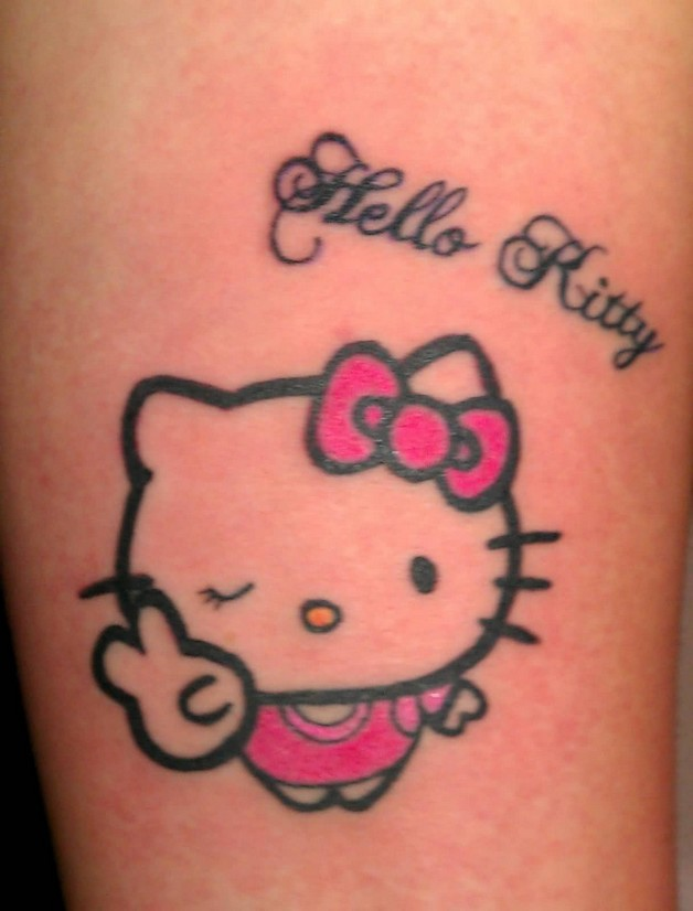 Kitty Cat Tattoo On Biceps photo - 1
