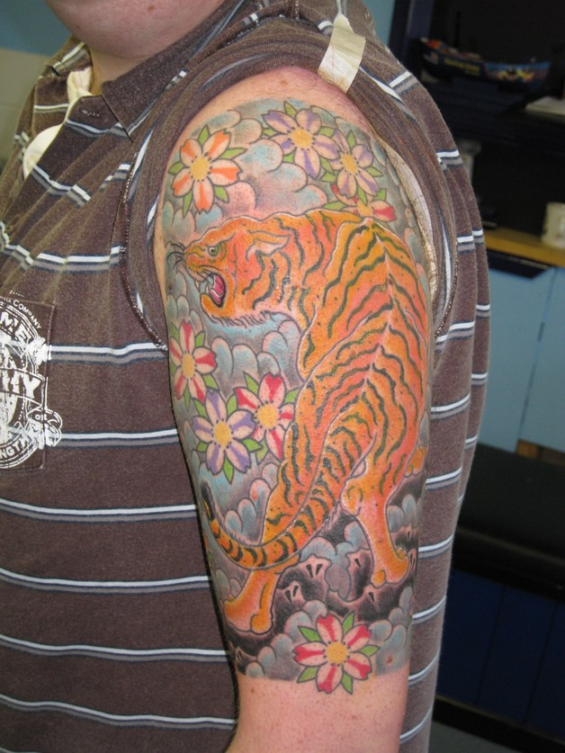 Left Sleeve Tiger Japanese Tattoo photo - 1