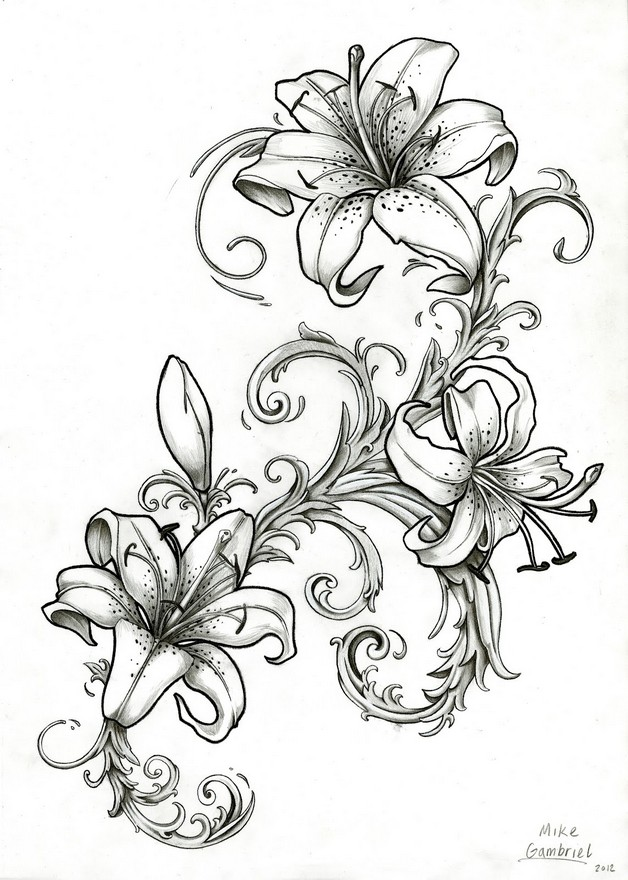 Lily Flower Tattoo Design With A Bird