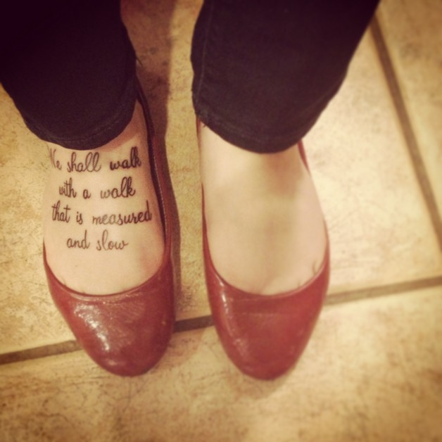 Literary Tattoo On Calf photo - 1