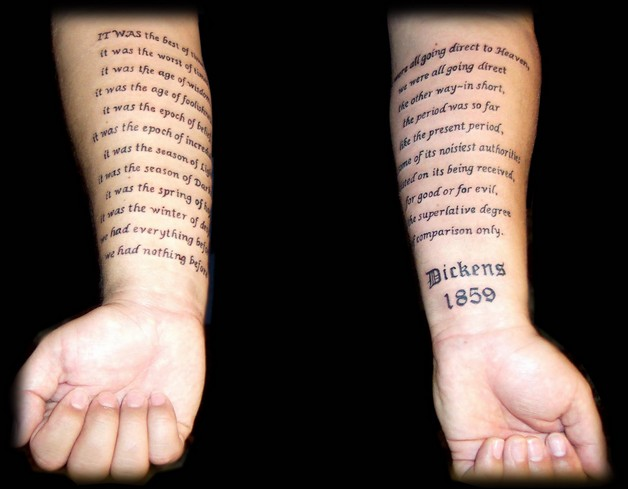 Literary Tattoo On Inner Biceps photo - 1
