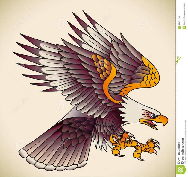 Lovely Eagle With Banner Tattoo Design photo - 1