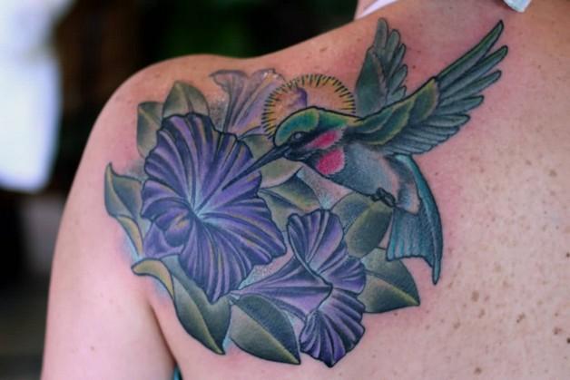 Lovely Flower n Hummingbird Tattoo On Back photo - 1