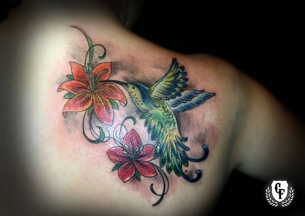 Lovely Hummingbird n Flower Tattoo Design photo - 1