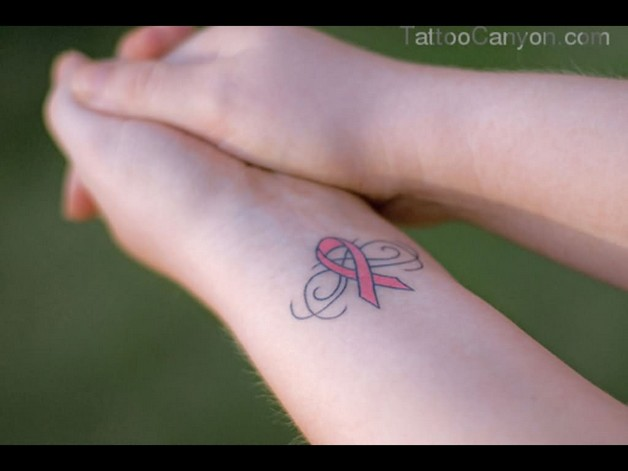 Lovely Pink Cancer Ribbon With Wings Tattoo On Wrist photo - 1