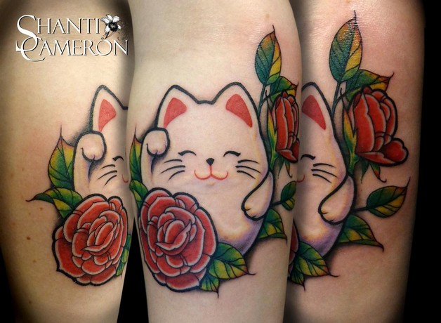 Lucky Cat Tattoo For Your Arm photo - 1