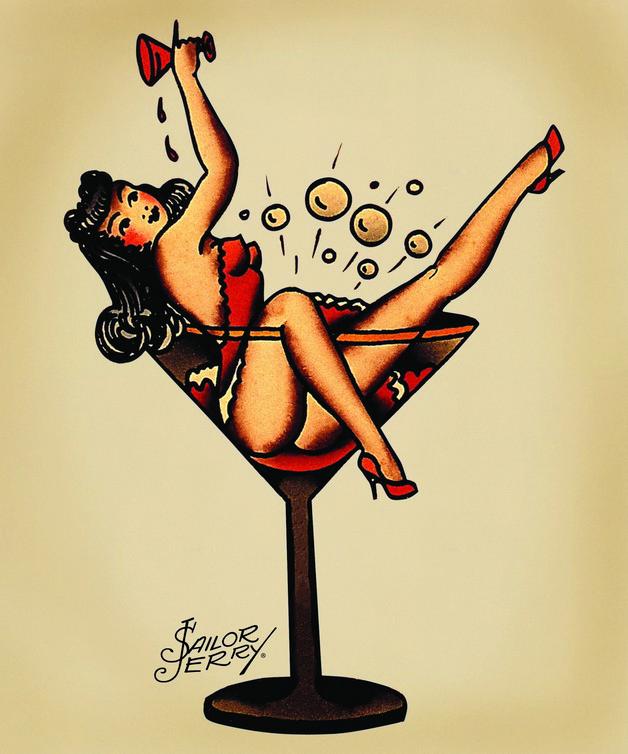 Martini Pin Up Girl Tattoo Flash photo - 1