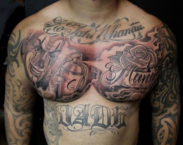 Mexicac Chest Piece Tattoo Design photo - 1