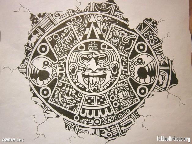 Calendar Design Drawing : Mexican aztec calendar tattoo design