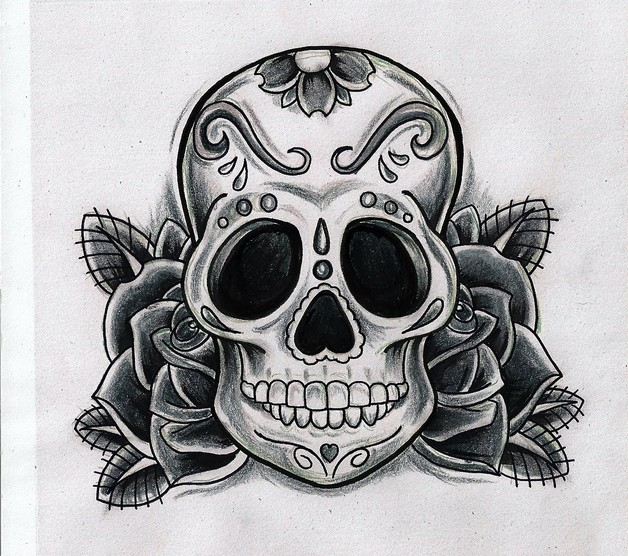 Mexican Candy Skull And Red Rose Tattoo Design photo - 1