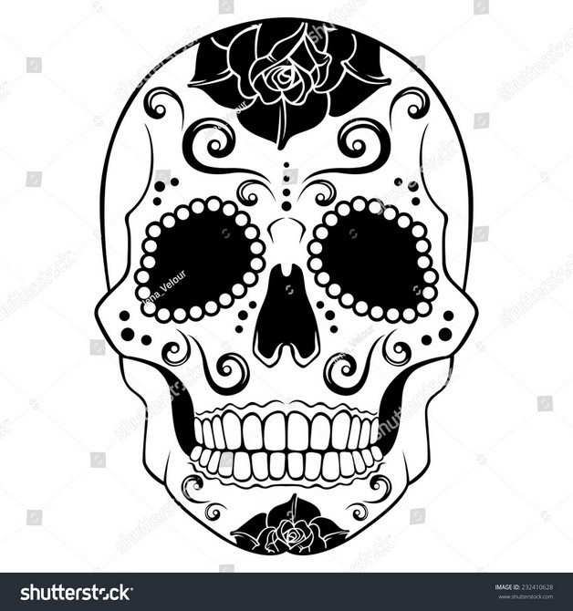 Mexican Candy Skull Tattoo Over Black Background photo - 1