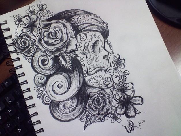 Mexican Skull Lady Tattoo On Sleeve photo - 1