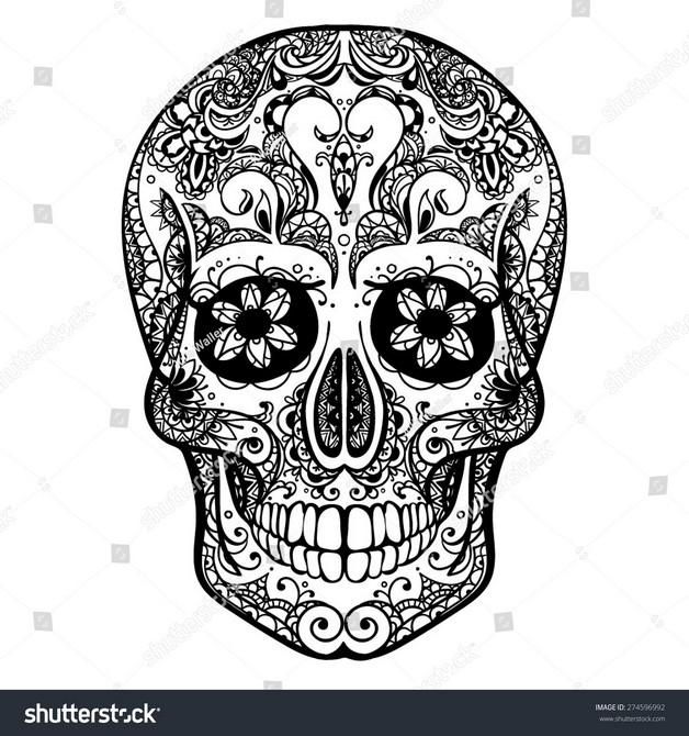 Mexican Skull Tattoo Flash photo - 1