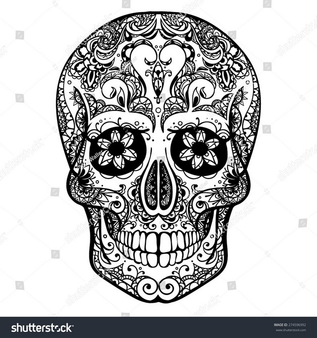 Mexican Smoking Skull Tattoo Graphic photo - 1