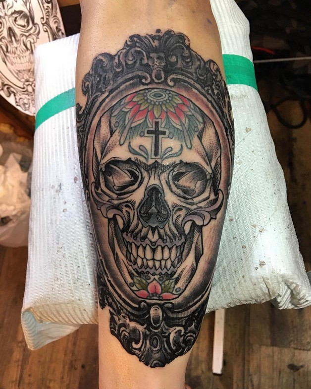 Mexican style skull and rose arm tattoo design for Mexican style tattoos