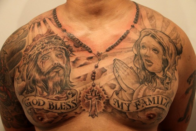 Mexican Style Virgin Mary Tattoo On Back photo - 1