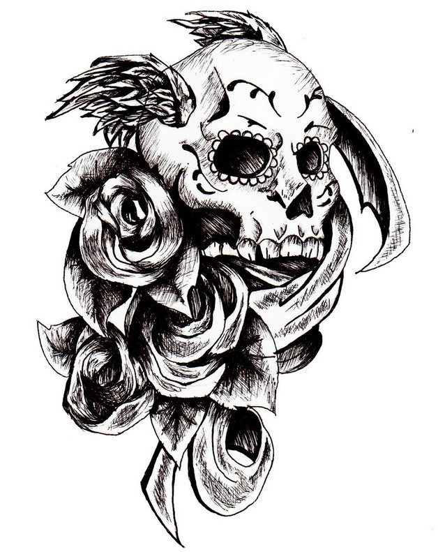 Mexican Sugar Skull Tattoo On Chest photo - 1