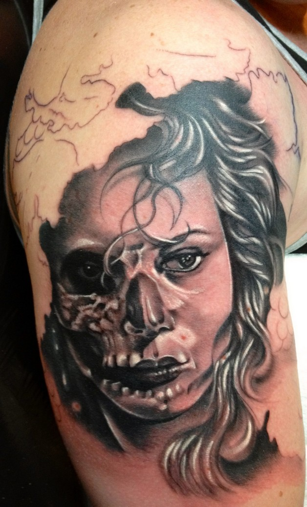 Mexican Sugar Skull Tattoo On Chest For Men photo - 1