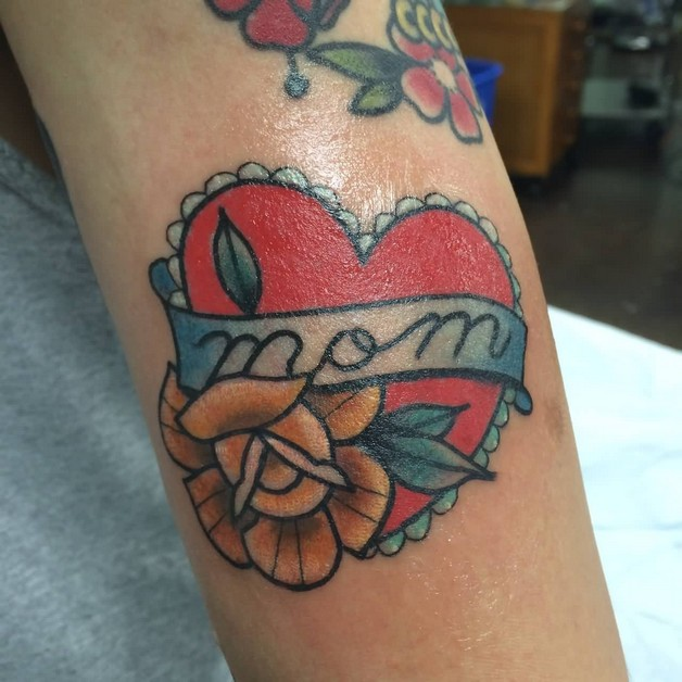 Mom Banner Heart Tattoo On Biceps photo - 1