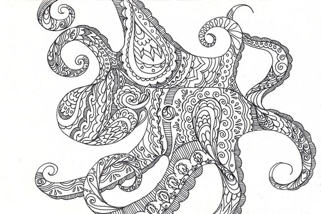 New Black Outline Octopus Tattoo Design photo - 1