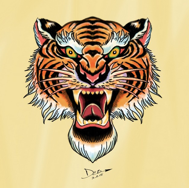 New Tiger Head Tattoo Design