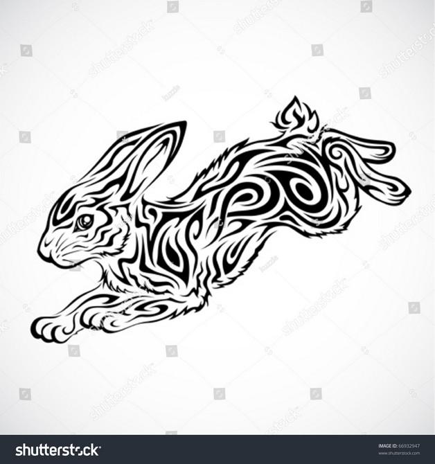 New Tribal Rabbit Tattoo Version photo - 1