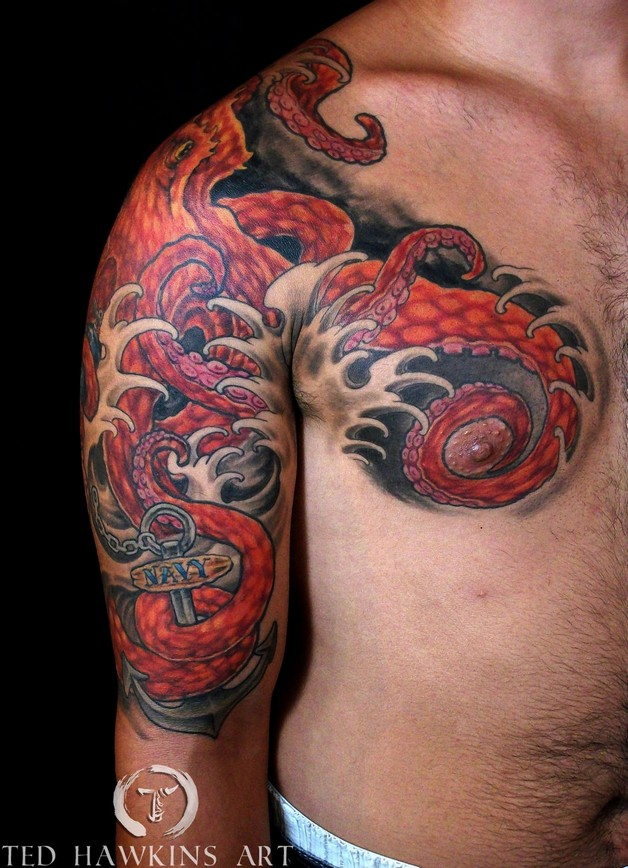 Octopus In Ocean Tattoos On Sleeve photo - 1
