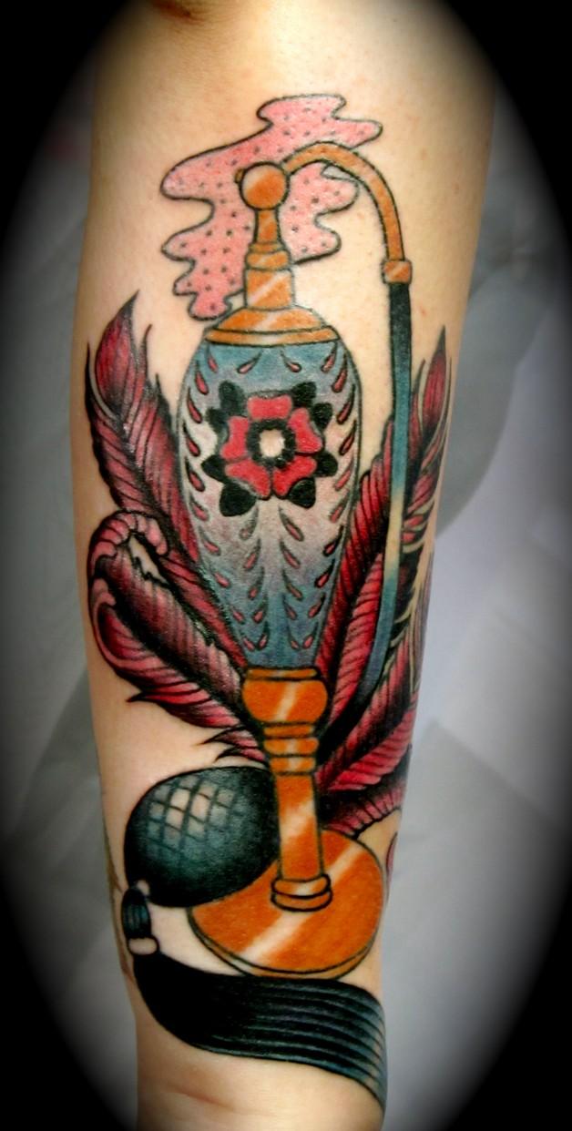 Old Perfume Bottle Tattoo Design photo - 1
